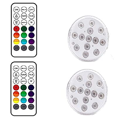 Submersible LED Lights with3 Suction Cups and Magnets,IP68 Waterproof Bathtub Light with RF Remote,13 Color Changing LED Lights for Shower,SPA,Hot Tub,Party,Aquarium Vase,Wedding,Halloween (2 Pack)