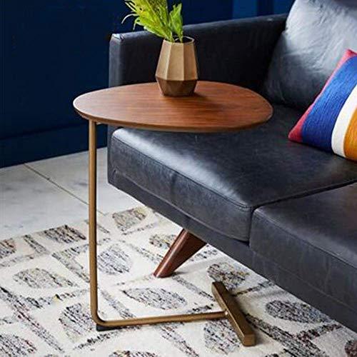 Good TV Soporte lámpara de mesa de teléfono roble macizo americano mesa de sofá mesa de hierro arte sala de estar mesa de centro mesa esquinera computadora, marrón, MK, marrón