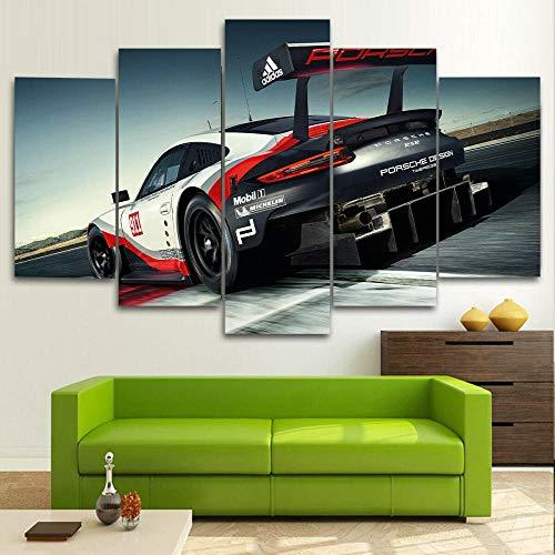 QWASD Coche Deportivo Porsch 911 RSR GT 5 Piezas Cuadros Lienzo Decoracion Salon Modernos De Pared Papel Pintado Murales Pintura Póster Fotos Regalo
