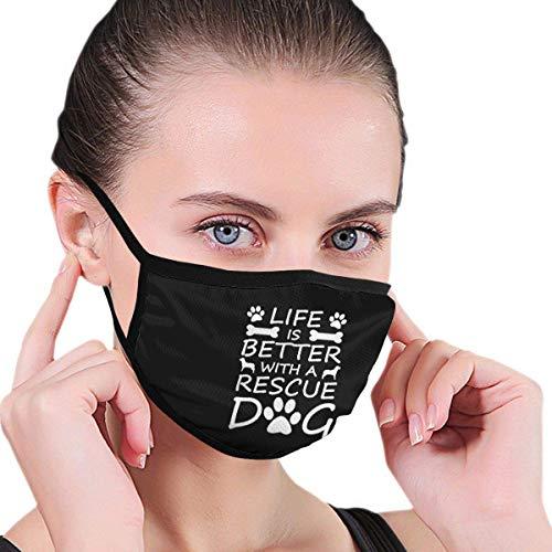 Das Leben ist Besser mit einem Rettungshund Jungen und Mädchen drucken Winddichte waschbare Wiederverwendbare Nasenbekleidung für die Gartenarbeit