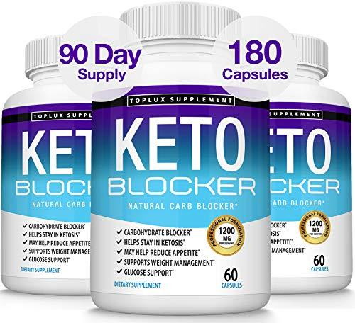 Keto Blocker Pills White Kidney Bean Extract - 1200 mg Natural Ketosis, Support Keto Diet, for Men Women, 60 Capsules, Toplux Supplement 1