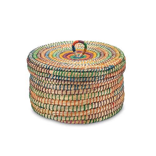 Gruener Handel - Kollektion Dhaka - Aufbewahrungskorb mit Deckel - Handarbeit - Fair Trade (Ø 30cm)