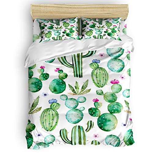 Amaze-Home Cactus Flower 4 Pieces Bedding Sets Queen Flannel Duvet Cover Sheet Bedspread with 2 Decorative Pillow Shams for Bedroom Dorm Hotel Green Watercolor