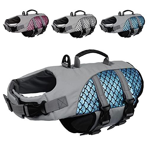Kuoser High Visibility Dog Life Jacket, Adjustable Pet Floatation Life Vest Dog Swimsuit with Reflective Stripes & Rescue Handle, Shining Fish Scales Dog Lifesaver Swimwear for Pool Beach Blue XL