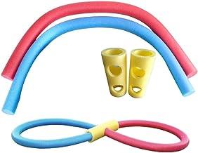 BASOYO Piscina de Espuma Woggle Noodle Juguete para Flotar aeróbicos y Deportes acuáticos + 2 enlazadores de 2 Orificios para niños y Adultos (2 Piezas)