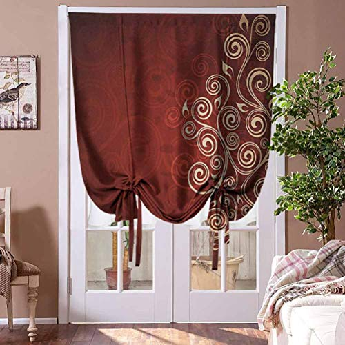 """Roman Shades for Windows Burgundy Tie Up Valances Curtains Floral Flower Swirl Ivy Image with Ombre Details Grunge Backdrop Artwork for Doors White Ruby and Red Rod Pocket Panel, 36""""W x 72""""L"""