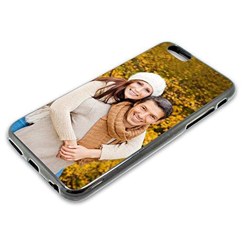 PixiPrints Premium Handyhülle selbst gestalten mit eigenem Foto und Text * Bild Schutzhülle, Hüllentyp: TPU-Silikon/Schwarz, Kompatibel mit Apple iPhone 6 / 6S
