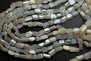 World Wide Gems 10 Inches Strand, Super Finest Rare, Mystic White Cream MOONSTONE Faceted Nuggets 10-11mm