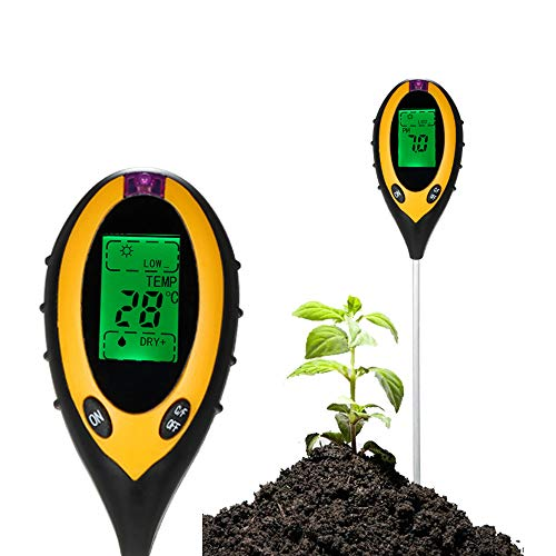 4 In 1 Bodenprüfgerät Feuchtigkeitsmessgerät PH Säuretester Temperatur Sonnenlicht Bodentester mit großem LCD-Display für Indoor Outdoor Farm Rasen Pflanzen