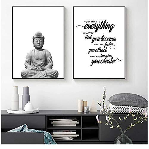 Vektenxi Abstract Buddha Wall Art Canvas Painting Yoga Poster Black White Wall Pictures Buddha Quote Zen Wall Art Prints Yoga Studio Decoration -50x70x2Pcscm No Frame