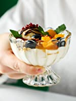 SLOOK Flower Shape Glass Ice Cream Bowls - Crystal Clear (Set of 6)