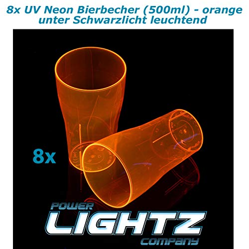 8 UV-neonbeker 500 ml in oranje, bier, longdrink, cocktail, cola, blacklight, glazen, meerweg, plastic