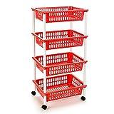 Acan Carrito portaobjetos Multiuso para organizar Espacio doméstico con Ruedas, Disponible con 3 y 4 cestas y en Distintos Colores (Rojo-4 Cestas)