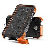 X-DRAGON Batería Solar, 24000mAh Batería Externa de Carga Rápida de 18 W Batería Externa con Entrada Dual (USB C y Micro), Linterna, Brújula para iPhone, iPad, Samsung, Teléfonos Celulares, XiaoMi