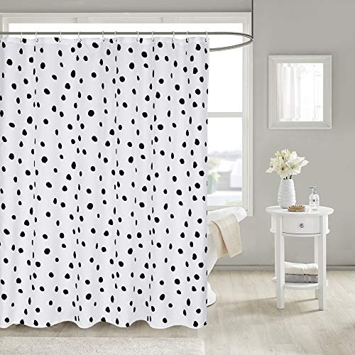 Uphome Fabric Shower Curtain Black and White Polka Dot Heavy Duty Waterproof Shower Curtain Sets with Hooks for Bathroom Showers Decor(72' W x 78' H)