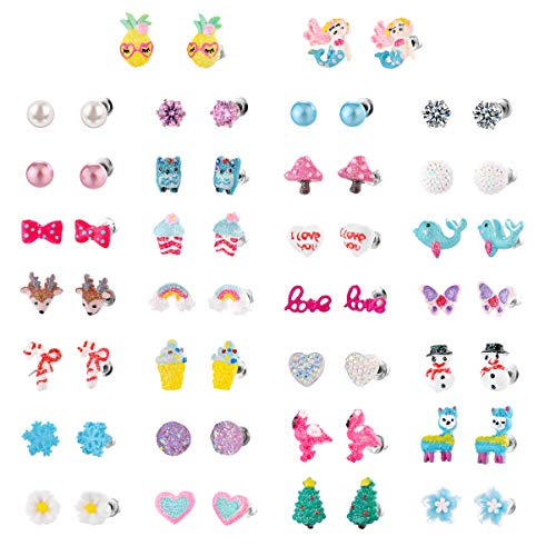 Bevan 9/12/30 Pairs Hypoallergenic Stainless Steel Girls Stud Earrings Sets Unicorn Mermaid Dolphin Owl Elk Snowflake CZ Teens Kids Earrings Set Christmas Gifts