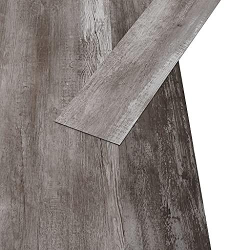 Susany 18X Lamas de Suelo Terraza Baldosas Baldosas de Suelo para Cocina Balcón Impermeable Antideslizante Antiestático Ignífugo PVC Marrón Madera Mate 5,26 m² 2 mm