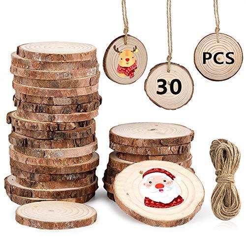 MELLIEX 30 PCS Dischetti Legno, 6-7cm Dischi di Legno Grezzo Naturale Buco Perforato Fette di Legno per DIY Artigianato Matrimonio Natale Casa Decorazioni