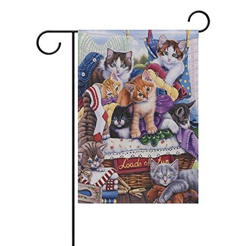 ShineSnow d'Innombrables Fun Chatons Home extérieur décoratif Jardin Drapeau Double Face, Cat Animal Bienvenue saisonnier Maison Yard Drapeaux 30,5 x 45,7 cm, Tissu, Multicolore, 28x40(in)