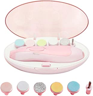 電動ネイルケア ベビー用ネイルケアキット 赤ちゃん爪切りセット 人気な電動爪磨き 赤ちゃんから大人まで使える 超静音モーター アタッチメント 6種類付き ピンク