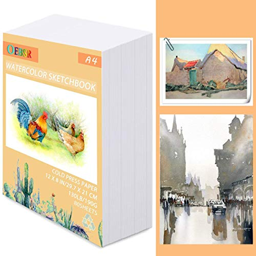 Fyess 80 Sheet A4 White Watercolor Paper Cold Press Cut Bulk,130 IB / 190 GSM Weight,Water Painting Art Notebook Pad,Watercolor Sketchbook,Painting Paper for Beginning Artists or Students(8x12 Inch)