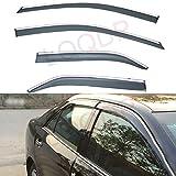 LQQDP 4pcs Smoke Tint With Chrome Trim Outside Mount Tape On/Clip On Style PVC Sun Rain Guard Vent Shade Window Visors Fit 12-17 Camry