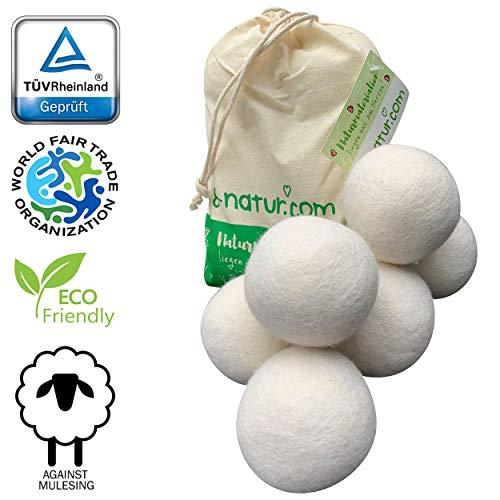 8-Natur - TÜV getestete Trocknerbälle für Wäschetrockner und Daunenjacken Schadstoff frei und tierfreundlich. Trockner Bälle aus 100% Reiner Schafwolle. Wool Dryer Balls für Daunen