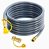 LONGADS 24 feet 3/8 Inch ID Natural Gas Hose with Quick Connect, Propane Gas Hose for Fire Pit Grill, Low Pressure Appliance 3/8 Female Pipe Thread x 3/8 Male Flare Quick Disconnect - CSA Certified