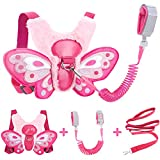 Accmor Toddler Leash + Anti Lost Wrist Link, Butterfly Child Leash Harness Wrist Leashes, Kids Walking Harnesses Wristband Assistant Hand Strap Belt for Baby Girls (Pink)