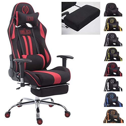 Silla Racing XL Limit En Tela I Silla Gaming con Base De Metal I Silla De Ordenador Altura Regulable I Silla Gamer Giratoria I Color:, Color:Negro/Rojo, Reposapies:con reposapies