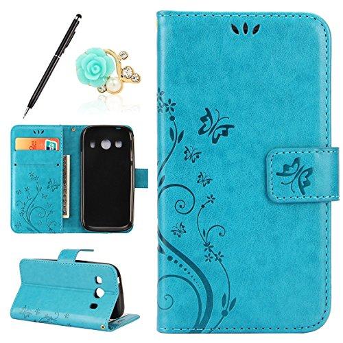 Uposao Kompatibel mit Samsung Galaxy Ace 4 G357 Handyhülle Lederhülle Leder Tache Retro Vintage Schmetterling Muster Brieftasche Schutzhülle Flip Wallet Cover Handytasche mit Kartenfächer,Blau