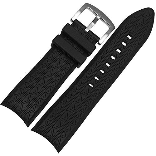 Correa de reloj de silicona negra para neumáticos de 24 mm con hebilla S.S.