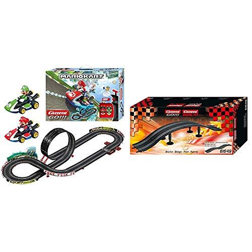 Carrera GO!!! Nintendo Mario Kart 8 Rennstrecken-Set | 4,9m elektrische Carrerabahn mit Mario & Luigi & Kamelbuckel / Überfahrt Erweiterungsset für DIGITAL 143, Carrera GO!!! Plus & Carrera GO!!!