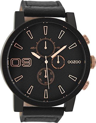 Oozoo Herrenuhr mit Lederband 50 MM Black/Schwarz/Schwarz C9034