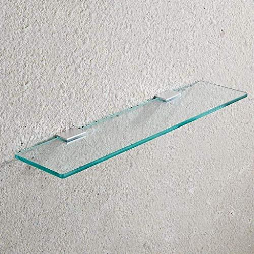 Gehard glazen plankje, badkamerplank, met rechthoekige glazen wandsteun (8 mm dik), voor keukenbadkamer/balkon (grootte: 70 cm / 27.5 '') 40cm/15.7''