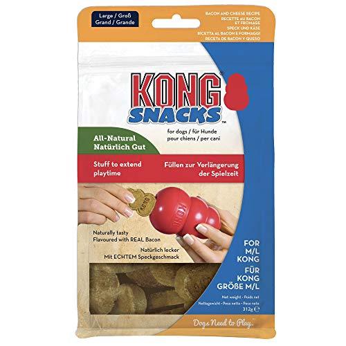 KONG - Snacks - Golosinas para Perros (Ideal para los Juguetes de Caucho Galletas de beicon y Queso - para Perros de Raza Grande