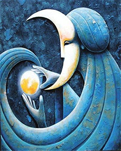 RNTJRTT Malowanie według numerów zestawy księżyc bogini sztuka DIY obraz na płótnie dla dorosłych i dzieci z 3 pędzlami i farbami akrylowymi bez ramy 40 * 50 cm