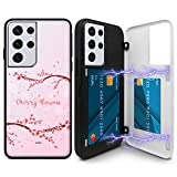 Kompatibel mit Galaxy S21 Ultra 17,3 cm (6,8 Zoll), Kirschblüten-Design, maßgefertigte magnetische Schutzhülle für die Tür.