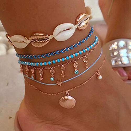 YERTTER Boho Beads Shell Anklets for Women Multilayer Eye Star Stone Seashell Anklet Foot Bracelet Gold Color Beach Anklet Jewelry