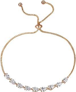 WeimanJewelry Cubic Zirconia CZ Bridal Pear Cut Adjustable Teardrop Chain Bracelet for Women Wedding
