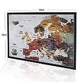2map Mapa de Viaje con Chinchetas, Mapa de Viaje Europeo con Marco, Mapa de Viaje Familiar y Aventuras Personales, Mapa con 100 Extra Chinchetas 53 x 73 cm, el Mapa para Viajeros, Fabricado en la EU