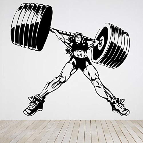 Bodybuilder tatuajes de pared gimnasio fitness ejercicio mujer muscular con barra etiqueta de la pared fitness mujer vinilo calcomanía gimnasio decoración mural