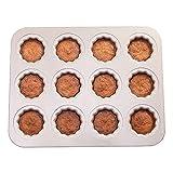 Cypressen Moule à gâteaux de Moule à canele, Moule à canneles en Acier au Carbone de cannele à Muffin antiadhésif à 12 cavités Moule à cannelier pour Cupcakes