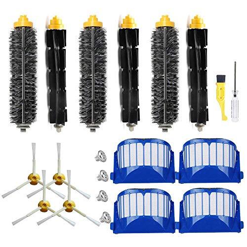 SODIAL Filtre pour Roomba SéRie 600 Robots Aspirateurs Filtre Filtre pour Batteur Flexible Kit de Brosse LatéRale à 3 Branches