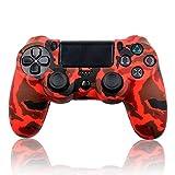 Ociodual Funda de Silicona Carcasa para Mando Sony PS4/Slim/Pro Dualshock Camuflaje Roja