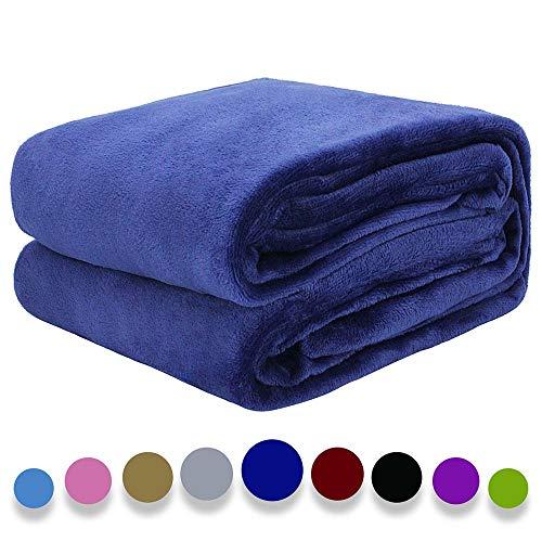 "Auchen Flannel Fleece Blanket Throw Blue Home Blanket,Fluffy Blanket Warm Bed Throws for Sofa and Pet,Exquisite Comfortable Deep Blue Flannel Fleece Blanket 13050quot x15060"" cm"