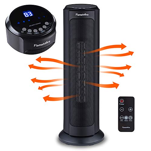 """Oscillating Tower Space Heater, 22"""" Portable Heater with Remote Control, Adjustable Thermostat 1500W Tip-over & Overheating Safety Cut-off, 12H Timer for Indoor Use Home office Black"""