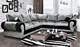 HHI Black/Silver Mixed Corner sofas Crushed Velvet Sofas (Corner Sofa) - Corner sofas Sofas for garden - Sofas and couches - Cheap Corner Couch
