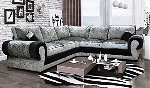 HHI - L Shaped Luxurious Silver and Black Crushed Velvet Corner couch - With Free Cushions -Modern 230 X 230 cm Corner Sofa Set -Furniture for living rooms Black/Silver Corner Sofa