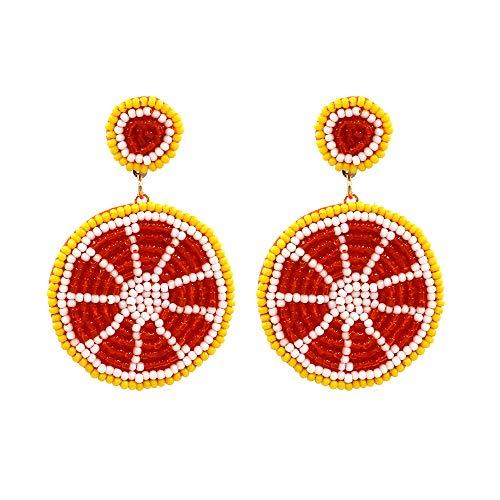 WY-EHSP Gewebter Reis Perlen Zitrone Ohrringe Persönlichkeit Wildobst Ohrringe,Rot
